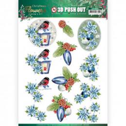 Carte 3D prédéc. - SB10480 - Christmas Flowers - Lanternes de Noël