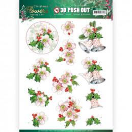 Carte 3D prédéc. - SB10481 - Christmas Flowers - Fleurs de Noël roses