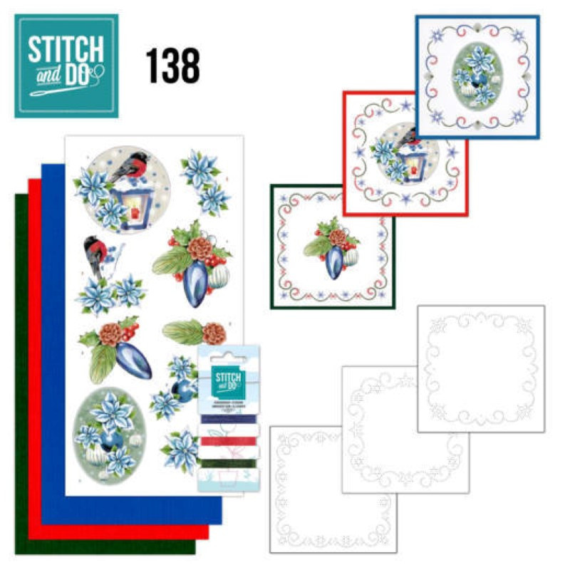 Stitch and do 138 - kit Carte 3D broderie -  Christmas flowers - Lanternes