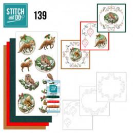 Stitch and do 139 - kit Carte 3D broderie -  Christmas flowers - Renard, chouette et écureuil