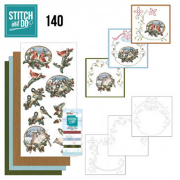 Stitch and do 140 - kit Carte 3D broderie -  Oiseaux de Noël