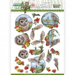 Carte 3D prédéc. - SB10488 - Amazing Owls - Chouettes dans la prairie