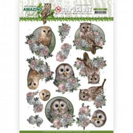 Carte 3D prédéc. - SB10489 - Amazing Owls - Chouettes romantiques