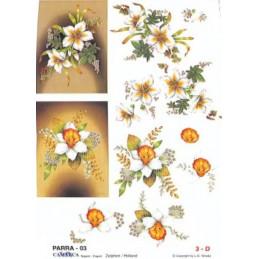 Carte 3D à découper - PARRA 03 - Fleurs blanches