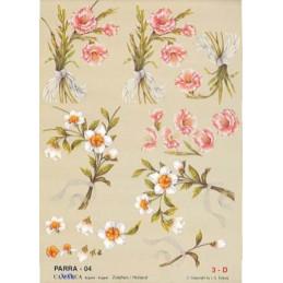 Carte 3D à découper - PARRA 04 - Fleurs roses et blanches