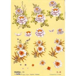 Carte 3D à découper - PARRA  -  Fleur blanches fond jaune