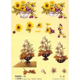 Carte 3D à découper - PARRA 15 - Fleur pot blanc/noir