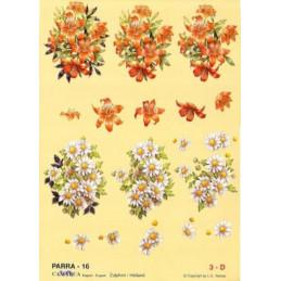 Carte 3D à découper - PARRA 16 - Bouquets oranges/blancs