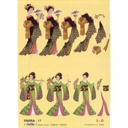 Carte 3D à découper - PARRA 17 - Chinoises robe verte/noire