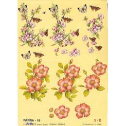 Carte 3D à découper - PARRA 18 - Fleur et papillons