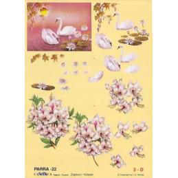 Carte 3D à découper - PARRA 22 - Cygnes et bouquets