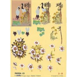 Carte 3D à découper - PARRA 23 - 2 grues derrière plantes