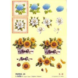 Carte 3D à découper - PARRA 25 - Pot tournesol/Fleur bleues
