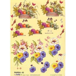 Carte 3D à découper - PARRA 45 - Coupe de fruits/fleurs