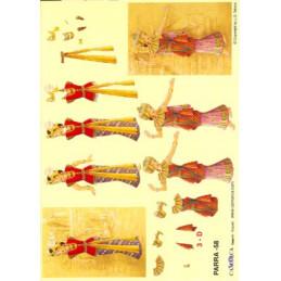 Carte 3D à découper - PARRA 58 - 2 danseuses indiennes