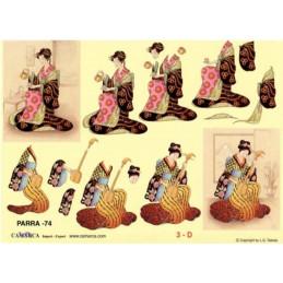 Carte 3D à découper - PARRA 74 - Chinoises instruments musique