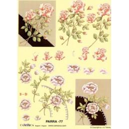 Carte 3D à découper - PARRA 77 - Roses blanches et roses