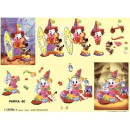Carte 3D à découper - PARRA 80 -  Clowns chien/oiseau