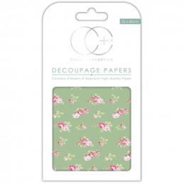 Papier patch 3 feuilles 35x40 cm Roses fond vert