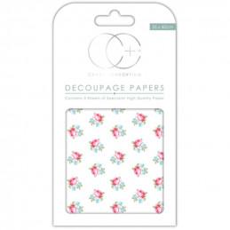 Papier patch 3 feuilles 35x40 cm Boutons de rose
