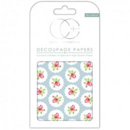 Papier patch 3 feuilles 35x40 cm Boutons de rose 2