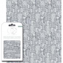 Papier patch 3 feuilles 35x40 cm Ville