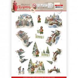 Carte 3D prédéc. - SB10482 - Nostalgic Christmas - Villages de Noël