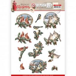 Carte 3D prédéc. - SB10483 - Nostalgic Christmas - Oiseaux de Noël