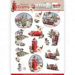 Carte 3D prédéc. - SB10485 - Nostalgic Christmas - Trains de Noël