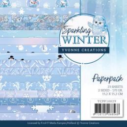 Bloc de papier - yvonne Créations - Sparkling winter 15 x 15 cm