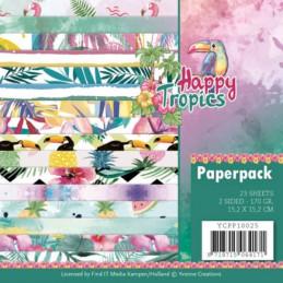 Bloc de papier - Yvonne Créations - Happy Tropics 15 x 15 cm