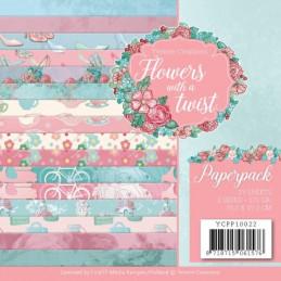 Bloc de papier - Yvonne Créations - Flowers with a Twist 15 x 15 cm