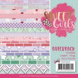 Bloc de papier - Yvonne Créations - Sweet girls 15 x 15 cm
