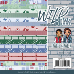 Bloc de papier - Yvonne Créations - Wild boys 15 x 15 cm