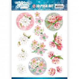 Carte 3D prédéc. - SB10490 - Colours of winter - Fleurs roses