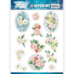 Carte 3D prédéc. - SB10491 - Colours of winter - Fleurs roses