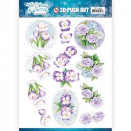 Carte 3D prédéc. - SB10493 - Colours of winter - Fleurs mauves
