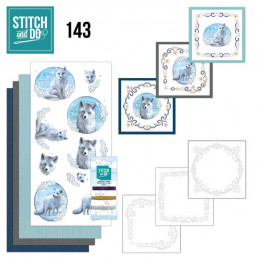 Stitch and do 143 - kit Carte 3D broderie - Renard en hiver