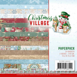 Bloc de papier - Yvonne Créations - Christmas village 15 x 15 cm - YCPP10033