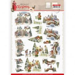 Carte 3D à découper - CD11559 - Nostalgic Christmas - Village de Noël