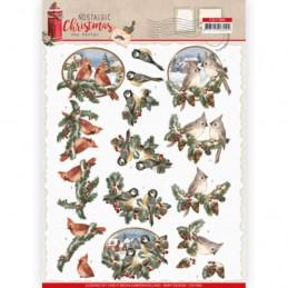 Carte 3D à découper - CD11560 - Nostalgic Christmas - OIseaux de Noël