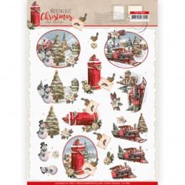 Carte 3D à découper - CD11562 - Nostalgic Christmas - Train de Noël