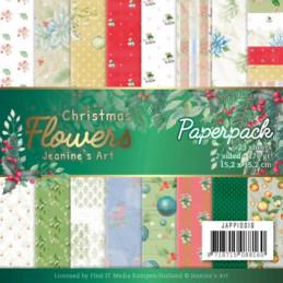 Bloc de papier - Jeanine art - Christmas flowers 15.2 x 15.2