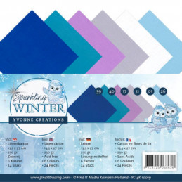 Set 24 cartes Yvonne Creations - Sparkling winter 13.5x27cm