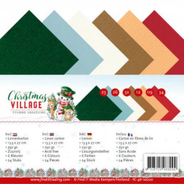 Set 24 cartes Yvonne Creations - Christmas village 13.5x27cm