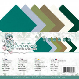 Set 24 cartes Yvonne Creations - Winter time 13.5x27cm