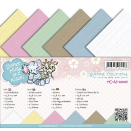 Set 24 cartes  Yvonne creations - Hugs and kisses A5 14.8 x 21 cm