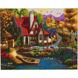 Broderie diamant Kit tableau 40x50cm Cottage