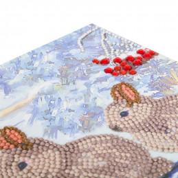 Kit Carte broderie diamant 18x18cm Lapins sur la neige