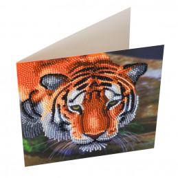 Carte broderie diamant 18x18cm Tigre